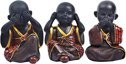 Baosity 3xHappy Buddha Monk Statue Do Not Say Look and Listen Figurines-Red