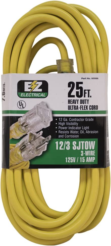 Today's only Courier shipping free EZ-FLO 60986 Heavy-Duty Extension Indoor 3-prong Outdoor Cord