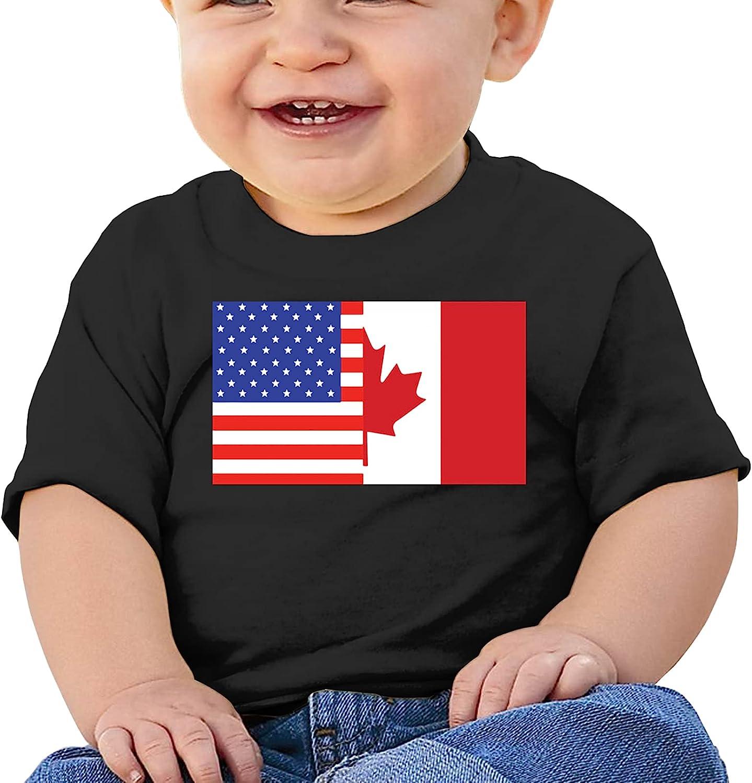KizzCllo2 Half Canada Half and American Flag Girl Boybaby'S Cotton T-Shirt T-Shirt