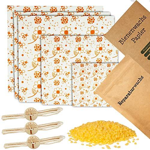 Wiederverwendbare Bienenwachstücher für Lebensmittel [XL Set] - inkl. Reparaturwachs, Deutscher Anleitung und praktische Verschlussschnüre - Plastikfreie Wachspapiere aus Bienenwachs (Blumen, 5er Set)
