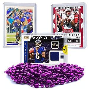Lamar Jackson Jersey Card Bundle, Set of 3 Lamar Jackson Football Cards with One Authentic Lamar Jackson Jersey Relic Memorabilia Card, Baltimore Ravens MVP Quarterback Sleeve and Toploader Protected