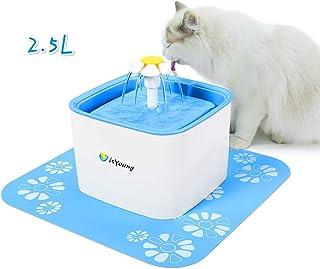 isYoung Bebedero Gatos Fuente Silencioso 2,5L para Perros y Gatos Bebedero Automático Fuente de Agua para Mascotas 3 Modos Ajustable y con 2 Filtros