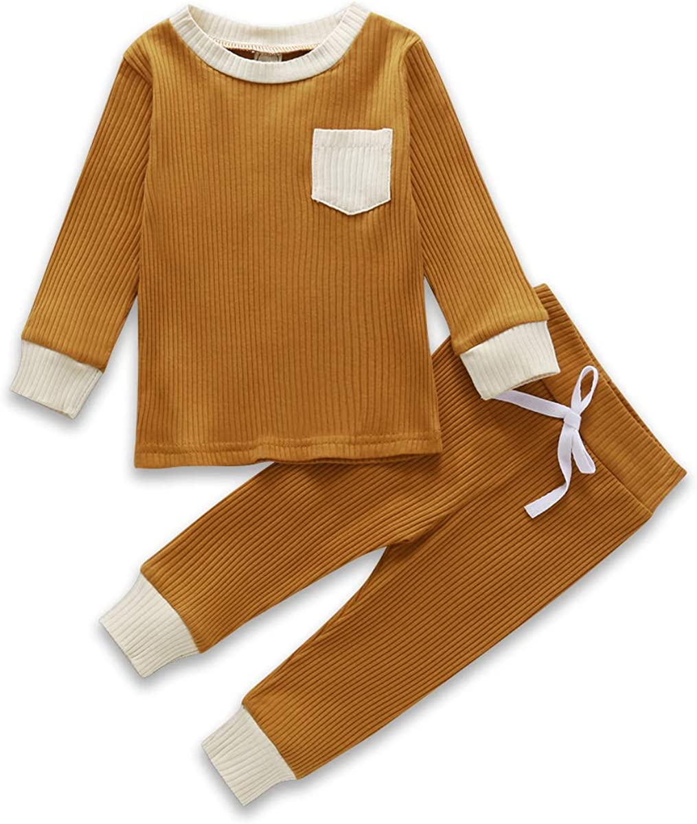 Toddler Baby Boy Girl Clothes Solid Long Sleeve Sweatshirt Tops Knitted Pants Set Fall Winter Outfits