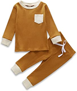 2Pcs Unisex Baby Clothes Boys Girls Knitted Cotton Outfits Solid Long Sleeve Shirt Tops Pants Fall Winter Clothes