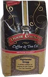 Door County Coffee, Highlander Grogg, Irish Creme & Caramel Flavored Coffee, Medium Roast, Whole Bean Coffee, Best-Seller, 5 lb Bag