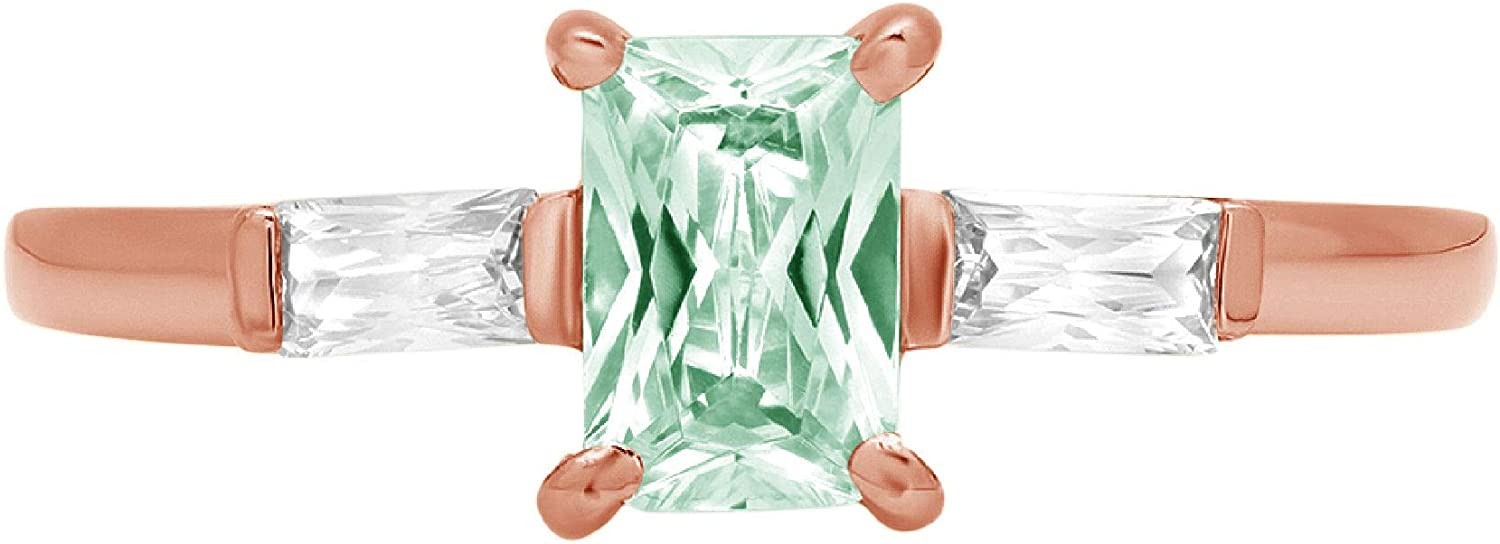 1.05ct Emerald Baguette cut 3 stone Solitaire with Accent VVS1 Blue Moissanite Ideal Engagement Promise Statement Anniversary Bridal Wedding Designer Ring 18K Rose Gold