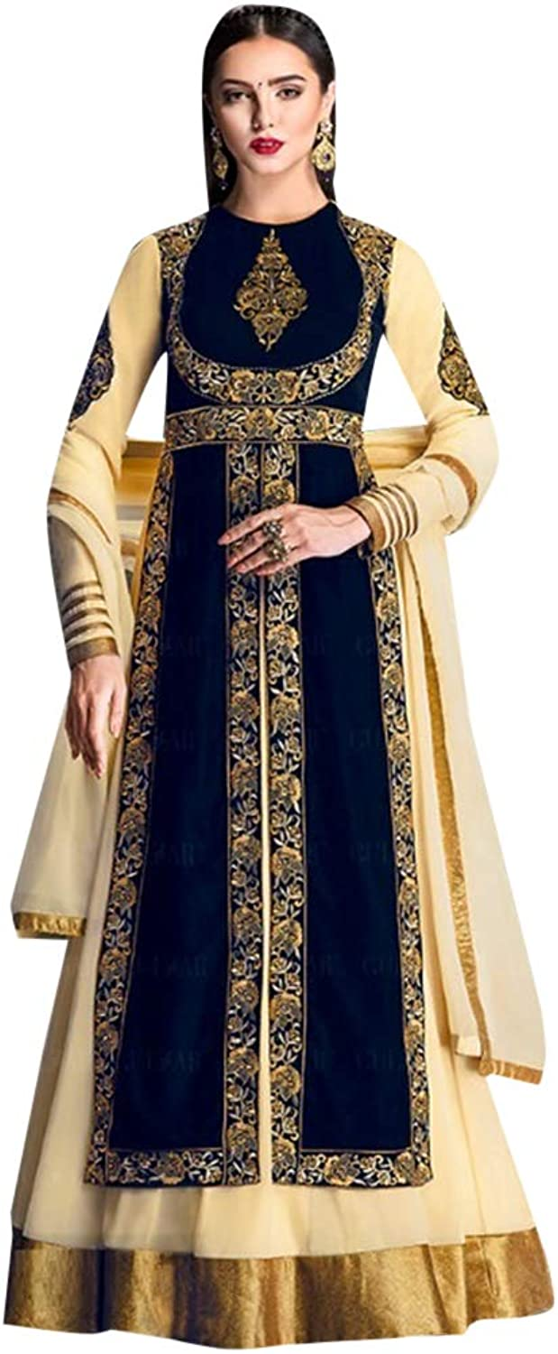 Designer Front Split Halfstitched Skirt Salwar Kameez suit Dupatta Ethnic Indian Muslim Women dress 7709