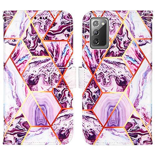 Nadoli Marmor Brieftasche Hülle für Samsung Galaxy Note 20,Geometrische Marmor Design Lederhülle mit Standfunktion Kartenfach Magnetverschluss Silikon Bumper Schutzhülle