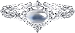 925 Sterling Silver Original Moon Phase Moonstone Tail Ring for Women Jewelry Birthday Gift