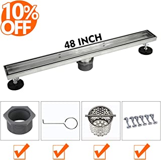 48-Inch Linear Shower Drain with Tile Insert Grate, Brushed 304 Stainless Steel Long Shower Floor Drain for Bathroom, Rectangle Floor Shower Drain with Adjustable Leveling Feet and Hair Strainer