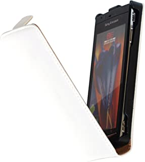 PhoneNatic Artificial Leather Case Compatible with Sony Xperia Arc S - Flip-Case White Cover + Protective foils