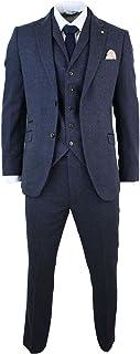 Cavani Men's 3-Piece Suit Brown Blue Wool Mix Herringbone Tweed Vintage