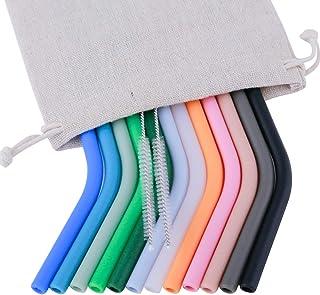 12 pajitas de silicona reutilizables de tamaño regular para vasos Yeti/Rtic/Ozark de 30 y 20 onzas + 2 cepillos + 1 bolsa de lino