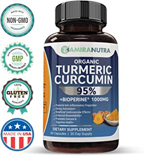 Amira Nutra Organic Turmeric Curcumin with BioPerine | Fast and Increased Absorption | Anti-Inflammatory and Antioxidant Supplement | Made in The USA | Organic | 1000mg Capsules