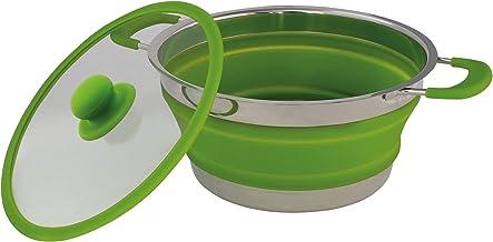 Eurotrail opvouwbare pan met deksel - siliconen opvouwbare pan (Groen)