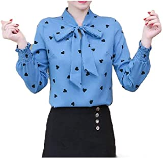 Comaba Women's Trim-Fit Blouse Bow Fashion Long-Sleeve Western Shirt