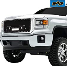 EAG Rivet Black Stainless Steel Wire Mesh Grille with 3 LED Lights Fit for 14-15 GMC Sierra 1500 (Non Denali) 1PC