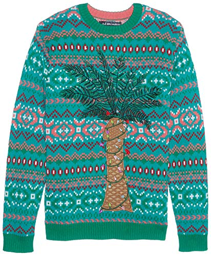 Blizzard Bay Men's Ugly Christmas Sweater Light UP, Brown, Large