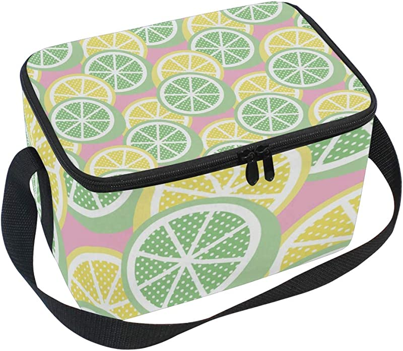 Insulated Lunch Bag Green Yellow Lemon Lime Fruit Pink Lunchbox Thermal Handbag Food Container Cooler Reusable Outdoors Travel Work School Strap Lunch Tote