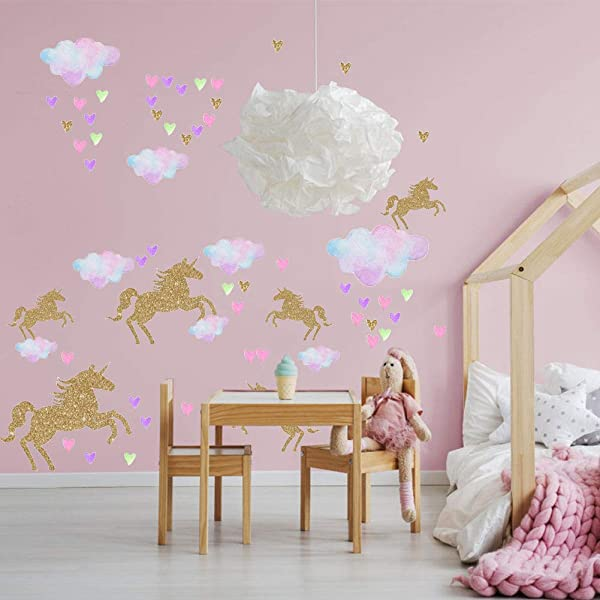 Unicorn Wall Decor Decal 112pcs Unicorn Nursery Wall Stickers Girls Bedroom Kindergarten Home Decoration Gifts For Kids Girls Baby Shower Birthday Party Favors