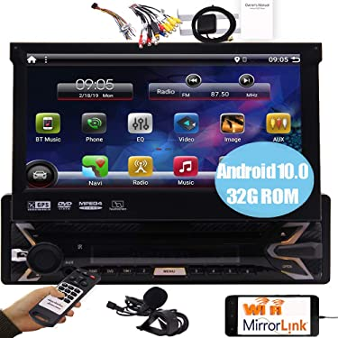 Android 10.0 Car Stereo Single Din Touch Screen 7 inch DVD Player System GPS Navigation in Dash 1 Din Headunit Car Radio Bluetooth WiFi Mirrorlink Camera Input SWC CD LED Light External Microphone