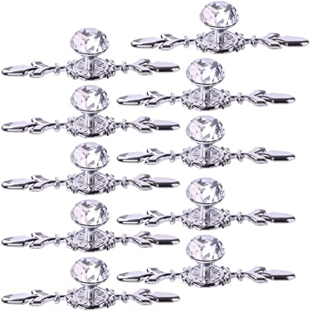 Fvstar 10pcs Cabinet Knobs Crystal Glass Drawer Pull Diamond Dresser Handles with Plate and Screws,Cupboard Wardrobe Handles for Living Room Kitchen Bedroom