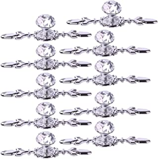 Fvstar 10pcs Crystal Cabinet Knobs Dresser Drawer Pulls Diamond Glass Closet Cupboard Handles Wardrobe Pulls with Plate and Screws for Office Kitchen Bedroom Bathroom Furniture