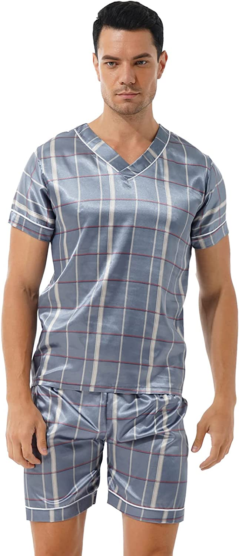 Moily Mens Satin Silky Luxury Pajama Sleepwear Homewear Lounge Set Short Sleeve Shirt with Shorts