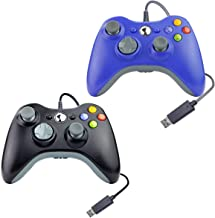 Wired USB Controller for Xbox 360 Compatible with Microsoft/Windows/PC 1 Pack (Blue & Black Gray)