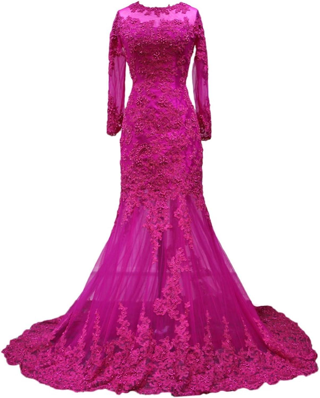 Alexzendra Mermaid Evening Dress For Women Sexy Prom Dress With Long Sleeves Purple