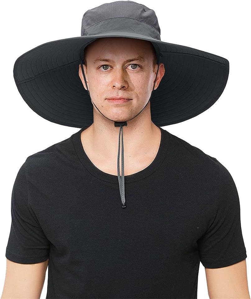 Mens Super Wide Brim Sun Hat UPF50+ UV Protection Waterproof Large Brim Bucket Hat for Fishing Hiking Camping