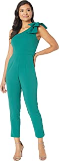 Adrianna Papell Women's One Shoulder Crepe Jumpsuit with Bow Accent