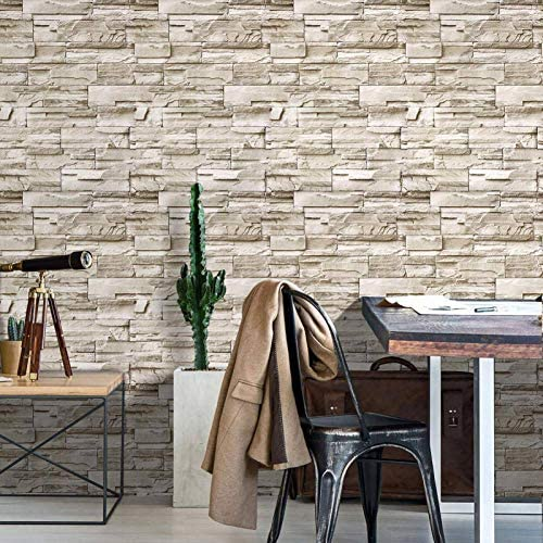 Peel and Stick Brick Wallpaper Shiplap Grey White 3D Effect Brick Self Adhesive Removable Wallpaper product image