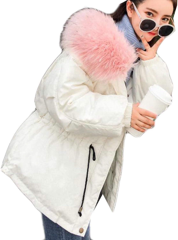 Cromoncent Womens Winter Down Jacket Faux Fur Hoodie Short Parka Coat