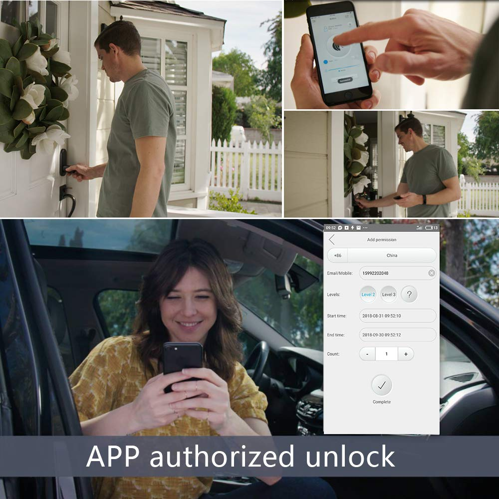 WE.LOCK Smart Door Lock Cylinder Electronic locks Password and Bluetooth Temporary password unlock with RFID Card with Water Proof Case