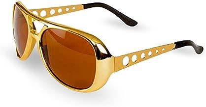 Big Mo's Toys Elvis Rockstar 50's, 60's Style Aviator Shades, Gold Celebrity Sunglasses 1 Pair