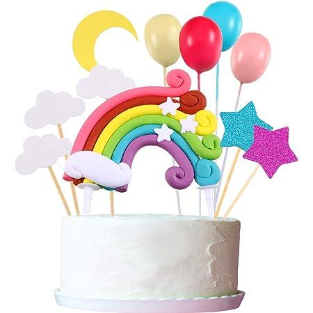 Zonon Cupcake Topper Set, Incluye Rainbow Cloud Moon Star Globo Forma Cupcake Topper Palillos para cumpleaños Decoración de la Torta del Banquete de Boda