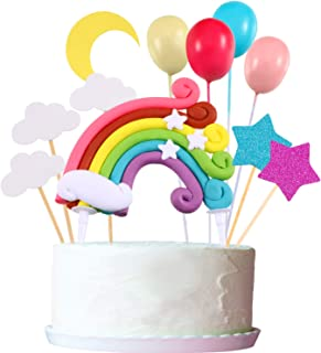 Cupcake Topper Set, Include Rainbow Cloud Moon Star Balloon Shape Cupcake Topper Picks for Birthday Wedding Party Cake Decoration