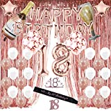 Rose Gold 18th Birthday Decorations for Girl,18 Birthday Party Supplies Include Foil Fringe Curtains, Happy Birthday Balloons,Birthday Tiara & sash, Cake Topper