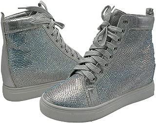 Z.Emma Womens Rhinestone Hidden Heel Platform Fashion Sneaker High Top Lace Up Sequined Ankle High Bootie HN09