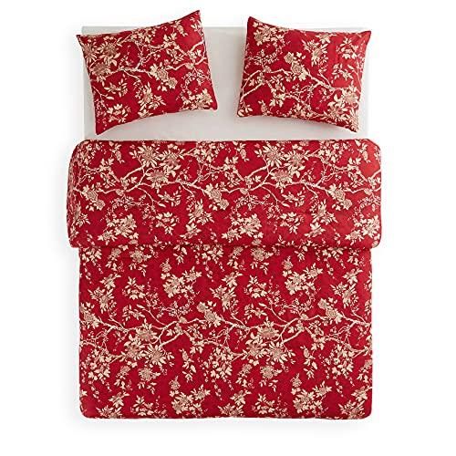 Wake In Cloud - Red Floral Comforter Set, Vintage Flowers Pattern Printed, Soft Microfiber Bedding (3pcs, King Size)