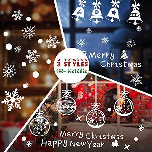 Hommie Pegatina de Ventana Autoadhesiva para Navidad con Vario Imagen, 6 Hojas Decorativo Nieves de Navidad para Ventanas, Puertas de Cristal, Escaparates, Cocina - Blanco