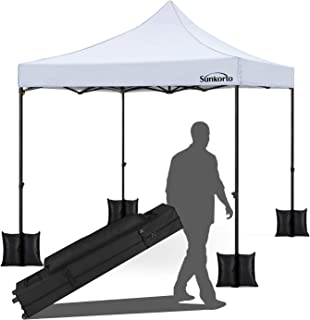 Sunkorto 10x10 Ft Pop up Canopy Tent with 4 Weight Sand Bags, UV Protection Instant Shelter with Wheeled Carry Bag for Party, Celebrations, Outdoor Sports or Commercial Activities, White