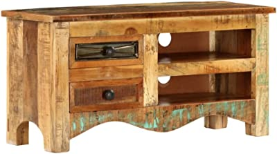 Amazon Com Rustic Tv Stand Industrial Vintage Furniture Small Media Storage Cabinet Solid Wood Unit Antique Indian Sideboard Retro Side Low Board 2 Drawers 1 Shelf Wooden Farmhouse Style Modern Large Living Room