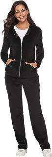 Women's Velour Sweatsuit Active Zip Hoodie Tracksuit Set Loungewear
