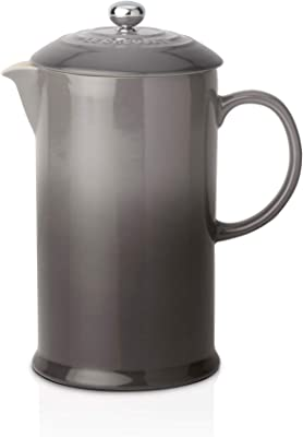 Le Creuset Stoneware Cafetière French Press with Stainless Steel Plunger, 1 Litre, Serves 3-4 Cups, Flint, 91028200444000