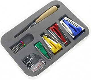 BIGTEDDY - Fabric Bias Tape Maker Kit for Sewing Quilting Awl and Adjustable Binder Foot w/Case (Set of 16)