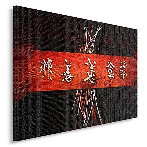 Feeby Frames, Cuadro en lienzo, Cuadro impresión, Cuadro decoración, Canvas de una pieza, 40x50 cm, CARACTERES JAPONESES, CIRCULOS, ABSTRACCIÓN, BLANCO, NEGRO, ROJO