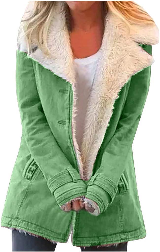 Sunhusing Women Denim Faux Fur Long Sleeve Lapel Collar Oversized Coat Outwear Open Front Warm Button Down Trench Coat Jacket