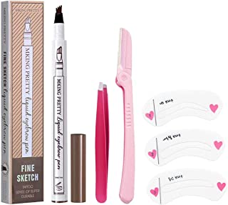 Eyebrow Tattoo Pen,Microblading Eyebrow Pen,Waterproof Microblading Eyebrow Pencil with a Micro-Fork Tip Applicator Creates Natural Looking Brows Effortlessly and Stays on All Day (1# Dark Brown/Chestnut)